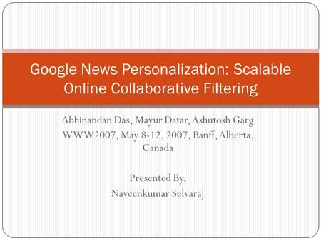 Google News Personalization