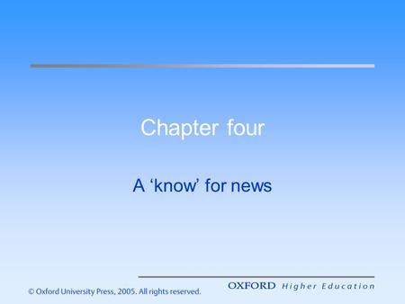 Chapter four A know for news. Introduction – the aims of this lecture are to help you understand: Definitions of news How to recognise news How to report.