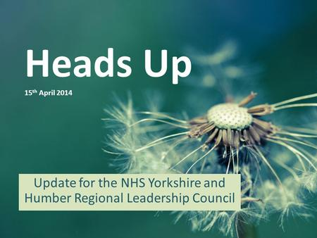 Heads Up 15 th April 2014 Update for the NHS Yorkshire and Humber Regional Leadership Council.