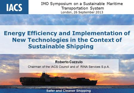 IMO Symposium on a Sustainable Maritime