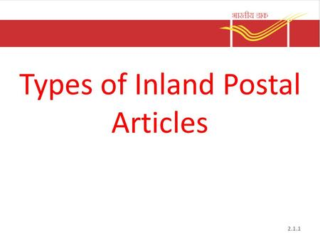 Types of Inland Postal Articles