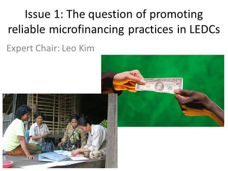 Issue 1: The question of promoting reliable microfinancing practices in LEDCs Expert Chair: Leo Kim.