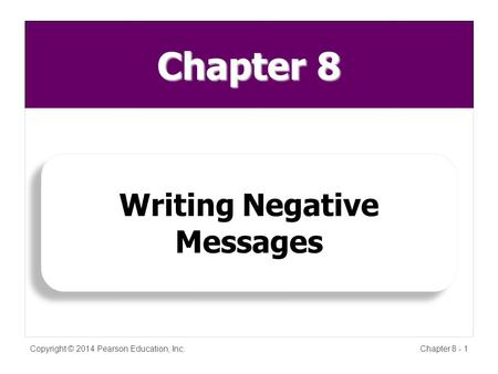 Chapter 8 Copyright © 2014 Pearson Education, Inc.Chapter 8 - 1 Writing Negative Messages.