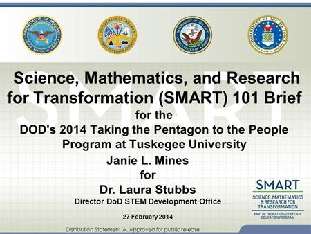 Distribution Statement A. Approved for public release Science, Mathematics, and Research for Transformation (SMART) 101 Brief for the DOD's 2014 Taking.
