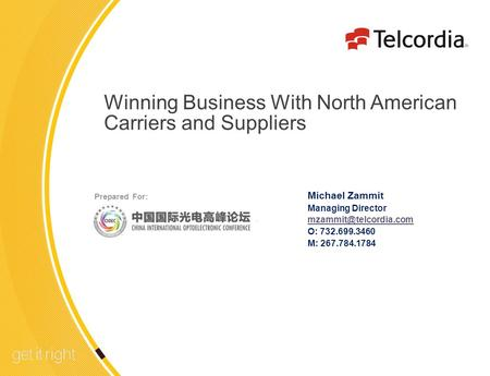 1 Winning Business With North American Carriers and Suppliers Michael Zammit Managing Director O: 732.699.3460 M: 267.784.1784 Prepared.