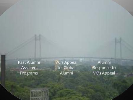 Past Alumni Assisted Programs VCs Appeal to Global Alumni Alumni Response to VCs Appeal.