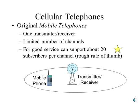 Cellular Telephones Original Mobile Telephones –One transmitter/receiver –Limited number of channels –For good service can support about 20 subscribers.