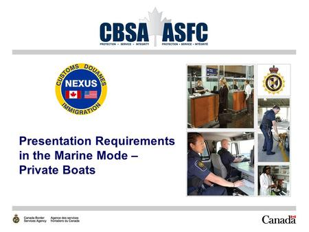 Presentation Requirements in the Marine Mode – Private Boats.