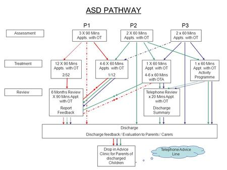 ASD PATHWAY Assessment3 X 90 Mins Appts. with OT 2 X 60 Mins Appts. with OT 2 x 60 Mins Appts. with OT 4-6 X 60 Mins Appts. with OT 1/12 12 X 90 Mins Appts.