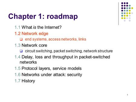Chapter 1: roadmap 1.1 What is the Internet? 1.2 Network edge