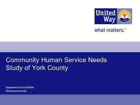 Community Human Service Needs Study of York County Department of Social Work Winthrop University.