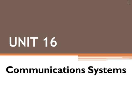 1 UNIT 16 Communications Systems. Introduction 2.