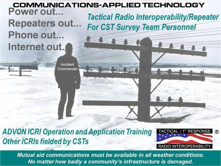 ADVON ICRI Operation and Application Training Other ICRIs fielded by CSTs ® Tactical Radio Interoperability/Repeater For CST Survey Team Personnel.