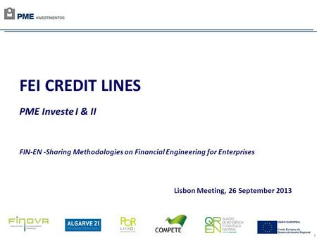 1 FEI CREDIT LINES PME Investe I & II FIN-EN -Sharing Methodologies on Financial Engineering for Enterprises Lisbon Meeting, 26 September 2013.