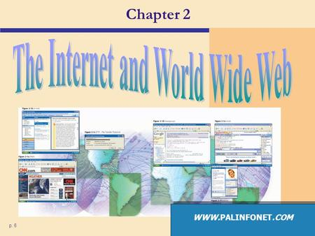 Chapter 2 p. 6 WWW.PALINFONET.COM. The Internet What are some services found on the Internet? p. 68 Fig. 2-1 Next 4. Chat (4) (1) 1. E-mail (2) 2. Web.