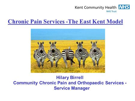 Chronic Pain Services -The East Kent Model