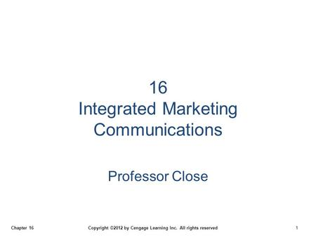 16 Integrated Marketing Communications
