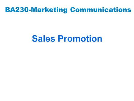 BA230-Marketing Communications