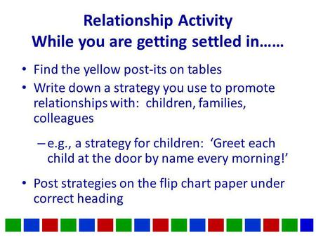 Relationship Activity While you are getting settled in…… Find the yellow post-its on tables Write down a strategy you use to promote relationships with: