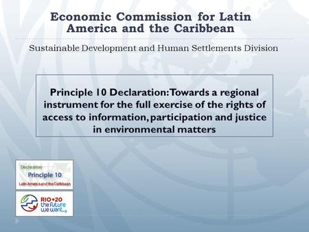 Sustainable Development and Human Settlements Division Economic Commission for Latin America and the Caribbean.
