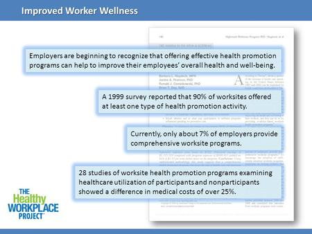Employers are beginning to recognize that offering effective health promotion programs can help to improve their employees overall health and well-being.