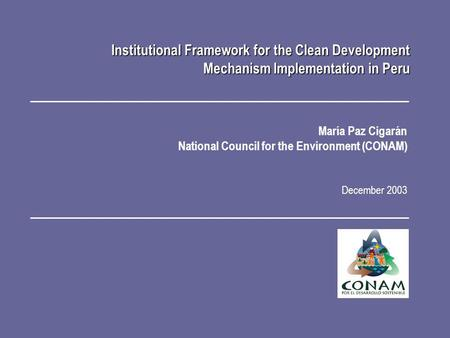 María Paz Cigarán National Council for the Environment (CONAM) December 2003 Institutional Framework for the Clean Development Mechanism Implementation.