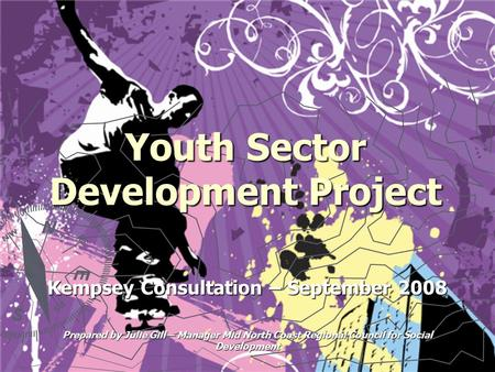Youth Sector Development Project Kempsey Consultation – September 2008 Prepared by Julie Gill – Manager Mid North Coast Regional Council for Social Development.
