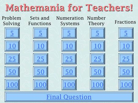 Mathemania for Teachers!