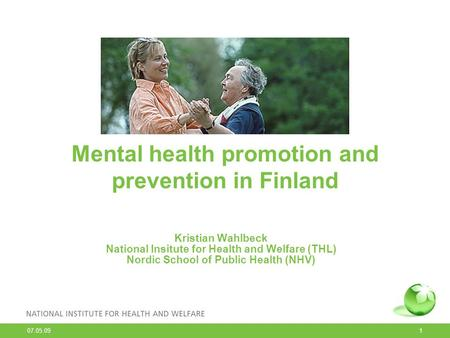 Mental health promotion and prevention in Finland