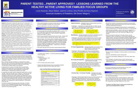 PARENT TESTED…PARENT APPROVED? LESSONS LEARNED FROM THE HEALTHY ACTIVE LIVING FOR FAMILIES FOCUS GROUPS Linda Radecki, Alison Baker, Jeanne Lindros, Amy.