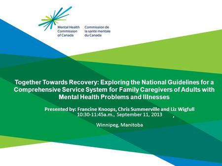Together Towards Recovery: Exploring the National Guidelines for a Comprehensive Service System for Family Caregivers of Adults with Mental Health Problems.