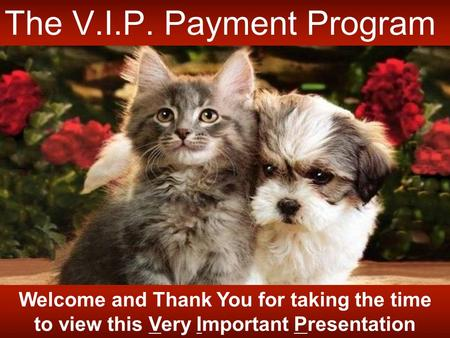 Welcome and Thank You for taking the time to view this Very Important Presentation The V.I.P. Payment Program.