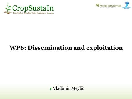 WP6: Dissemination and exploitation Vladimir Meglič.