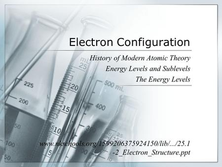 Electron Configuration History of Modern Atomic Theory Energy Levels and Sublevels The Energy Levels www.nkschools.org/1599206375924150/lib/.../25.1 -2_Electron_Structure.ppt.