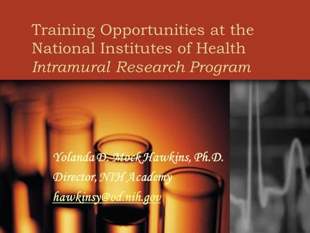 Training Opportunities at the National Institutes of Health Intramural Research Program Yolanda D. Mock Hawkins, Ph.D. Director, NIH Academy