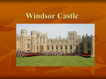 Windsor Castle. Windsor Castle is the oldest and largest occupied castle in the world. It is an official residence of Her Majesty the Queen. The magnificent.
