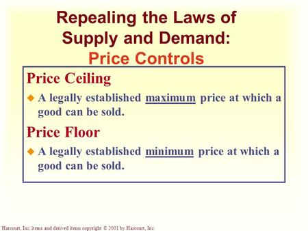 Repealing the Laws of Supply and Demand: Price Controls