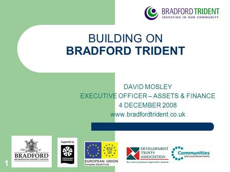 1 BUILDING ON BRADFORD TRIDENT DAVID MOSLEY EXECUTIVE OFFICER – ASSETS & FINANCE 4 DECEMBER 2008 www.bradfordtrident.co.uk.