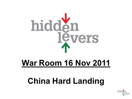 War Room 16 Nov 2011 China Hard Landing. War Room Monthly macro discussion Using tools in context Feature for subscribers only Feedback - what should.