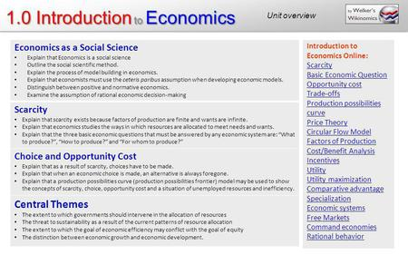 1.0 Introduction to Economics Economics as a Social Science Explain that Economics is a social science Outline the social scientific method. Explain the.