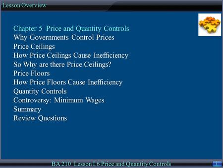 1 1 Lesson Overview BA 210 Lesson I.6 Price and Quantity Controls Chapter 5 Price and Quantity Controls Why Governments Control Prices Price Ceilings How.