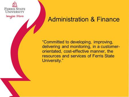 Administration & Finance Committed to developing, improving, delivering and monitoring, in a customer- orientated, cost-effective manner, the resources.