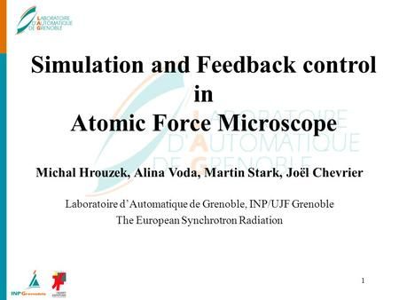 1 Simulation and Feedback control in Atomic Force Microscope Michal Hrouzek, Alina Voda, Martin Stark, Joël Chevrier Laboratoire dAutomatique de Grenoble,