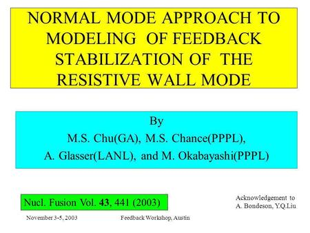 November 3-5, 2003Feedback Workshop, Austin NORMAL MODE APPROACH TO MODELING OF FEEDBACK STABILIZATION OF THE RESISTIVE WALL MODE By M.S. Chu(GA), M.S.