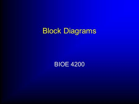 Block Diagrams BIOE 4200. Interpreting block diagrams Block diagrams are used as schematic representations of mathematical models The various pieces correspond.
