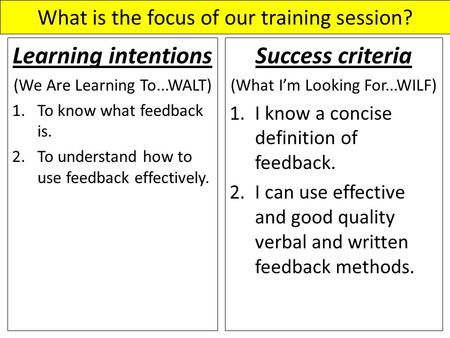 What is the focus of our training session? Learning intentions (We Are Learning To...WALT) 1.To know what feedback is. 2.To understand how to use feedback.