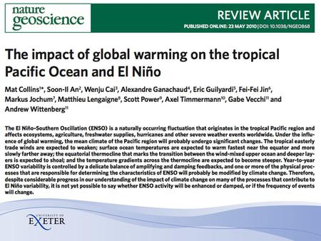 Motivation and Background AR4 Chapter 10: In summary, all models show continued ENSO interannual variability in the future no matter what the change in.