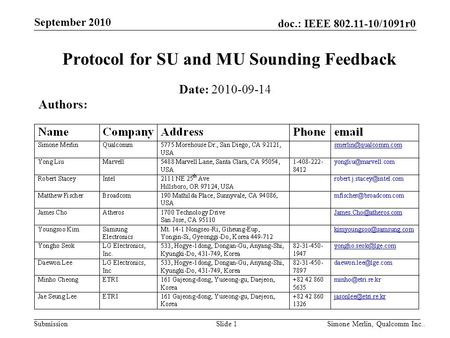 Protocol for SU and MU Sounding Feedback