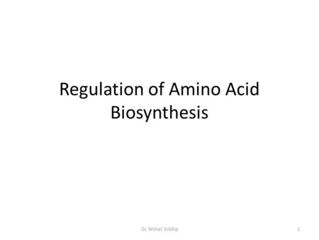 Regulation of Amino Acid Biosynthesis 1Dr. Nikhat Siddiqi.