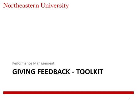 GIVING FEEDBACK - TOOLKIT Performance Management 1.